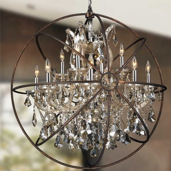 Best And Newest Foucault's Orb Chandelier 13 Light Chrome Finish Golden Teak Crystal Regarding Orb Chandelier (View 1 of 10)