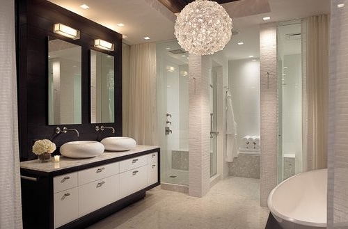 Best And Newest Modern Bathroom Chandelier Lighting With Eye Catching Amazing Of Chandelier Bathroom Lighting 10 Ideas (View 1 of 10)