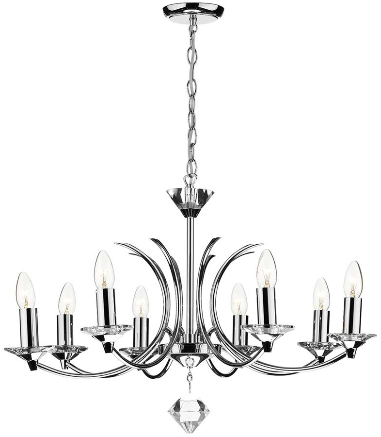 Best And Newest Modern Chrome Chandelier Pertaining To Dar Medusa Modern 8 Light Dual Mount Chandelier Chrome Med (View 3 of 10)