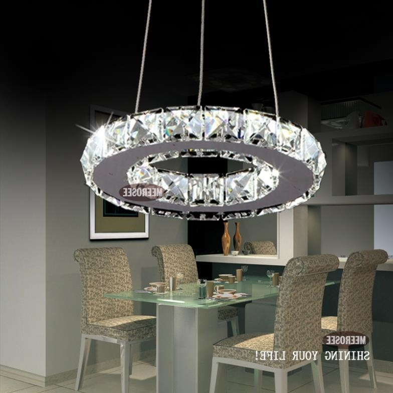 Best And Newest Modern Silver Crystal Ring Led Chandelier Pedant Crystal Lamp Intended For Modern Silver Chandelier (View 3 of 10)