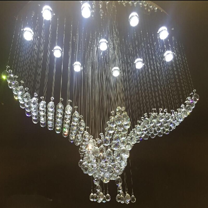 Best And Newest New Oval Design Large Crystal Chandeliers Modern Bird Chandelier For Large Crystal Chandeliers (View 2 of 10)