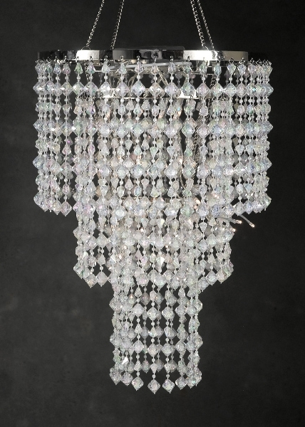 "Best And Newest Operated Chandelier 15"" Led Crystal Chandelier 3 Tier Inside 3 Tier Crystal Chandelier (View 6 of 10)"