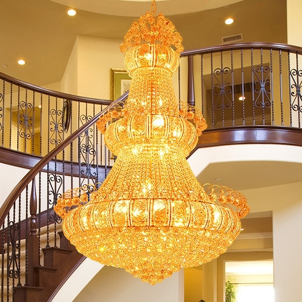 Big Chandeliers Throughout Trendy Aliexpress : Buy Large Gold Crystal Chandeliers Lights Fixture (View 4 of 10)