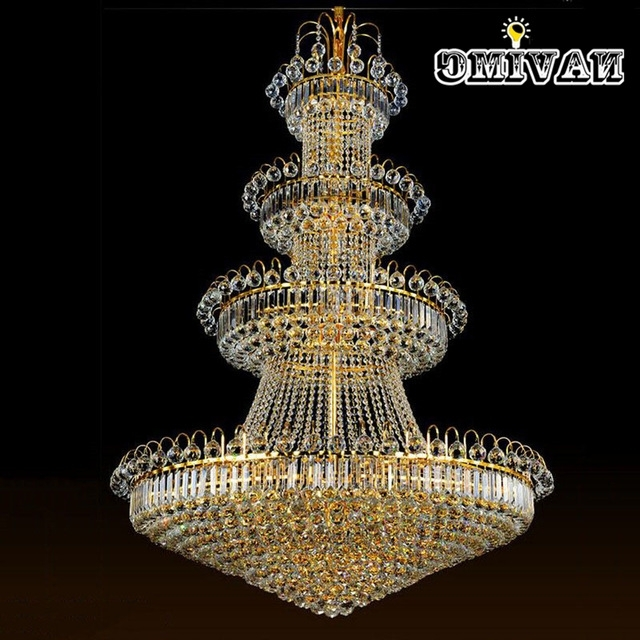 Big Crystal Chandelier Regarding Most Up To Date 100Cm Luxury Big Europe Large Gold Luster Crystal Chandelier Light (View 5 of 10)