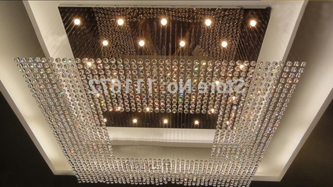 Big Crystal Chandelier With Regard To Fashionable New Square Modern String Big Crystal Chandelier Hotel Lobby (View 6 of 10)