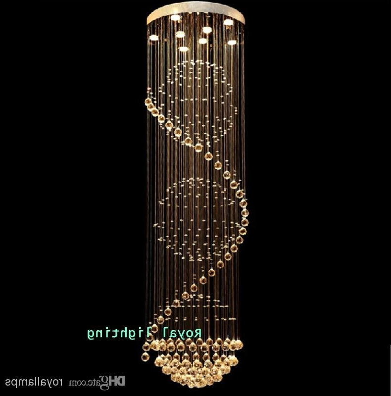 Big Stairway Crystal Chandelier Led Lamps Long Creative Europe Pertaining To Popular Long Chandelier (View 2 of 10)