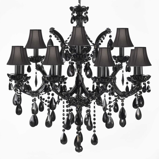 Black Chandeliers Intended For Fashionable Gorgeous Exotic Chandeliers Houzz Of Black And Crystal (View 9 of 10)