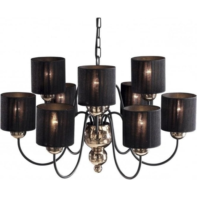 Black Chandeliers With Shades Intended For Well Known Black Shade Glass Chandelier Tinker And Toad For Awesome Household (View 1 of 10)