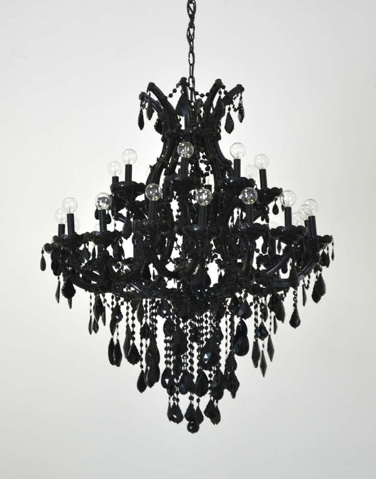 Black Glass Chandeliers With Regard To Fashionable Black Glass Maria Theresa Style Chandelier At 1Stdibs For Plans (View 7 of 10)