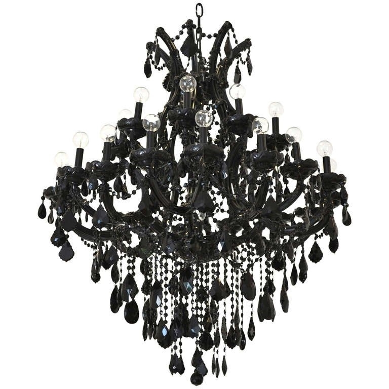 Black Glass Maria Theresa Style Chandelier At 1stdibs Throughout Most Popular Black Glass Chandelier (View 9 of 10)