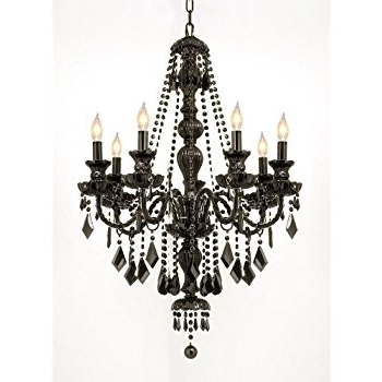 "Black Gothic Chandelier In Well Liked New! Jet Black Gothic Crystal Chandelier Lighting H37"" X W26"" Free S (View 2 of 10)"