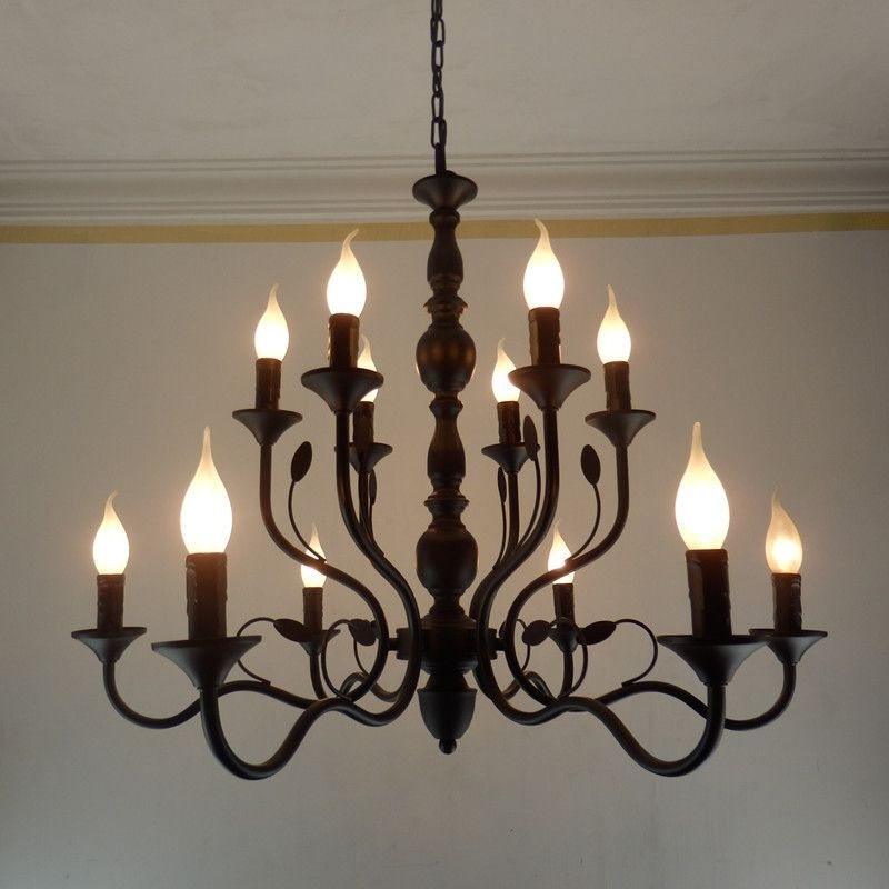 Black Iron Chandeliers For Well Known Buy Luxury Rustic Wrought Iron Chandelier E14 Candle Black Vintage (View 2 of 10)