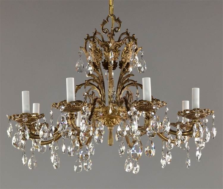 "Brass And Crystal Chandelier Intended For Most Up To Date 27"" Spanish Brass & Czech Crystal Chandelier C (View 2 of 10)"