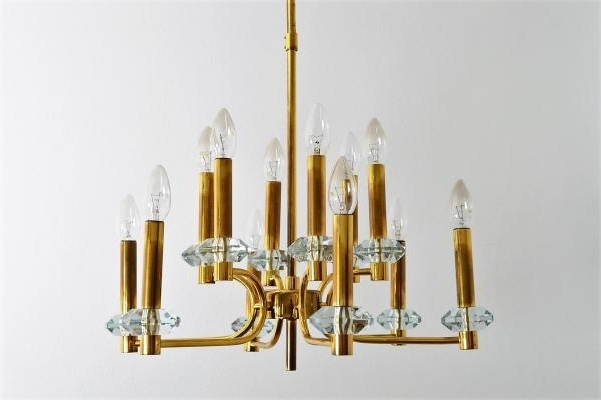Brass And Glass Chandelier Throughout Fashionable Vintage Brass And Glass Chandelier With 12 Lights From Palwa, 1960s (View 3 of 10)