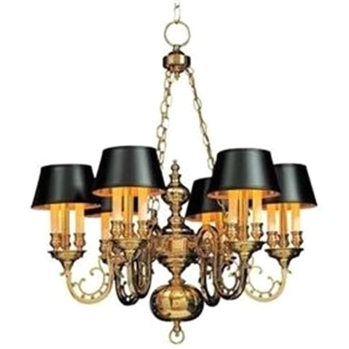 Brass Chandelier With Shades And Brass Chandelier With 6 Black Throughout Most Recent Chandeliers With Black Shades (View 1 of 10)