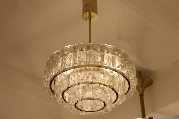 Brass & Glass Chandelier From Doria, 1960S For Sale At Pamono With Preferred Brass And Glass Chandelier (View 1 of 10)