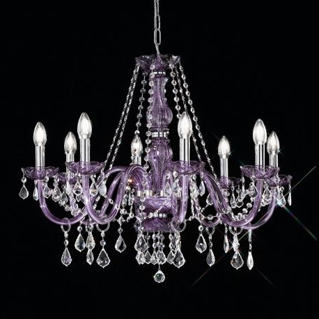 "Brindisi"" Venetian Crystal Chandelier – Murano Glass Chandeliers Throughout Current Purple Crystal Chandelier Lighting (Gallery 7 of 10)"