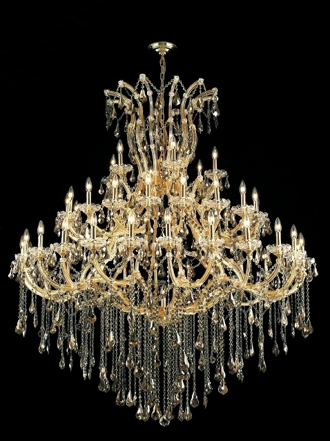 Buy Maria Theresa Golden Teak Crystal Chandelier W 37 Lights In Gold Throughout Favorite Crystal Gold Chandelier (View 2 of 10)