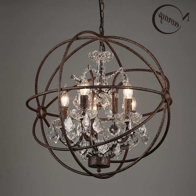 Cage Chandeliers For Fashionable Retro Vintage Rust Iron Cage Chandeliers E14 Big Style Crystal (View 4 of 10)