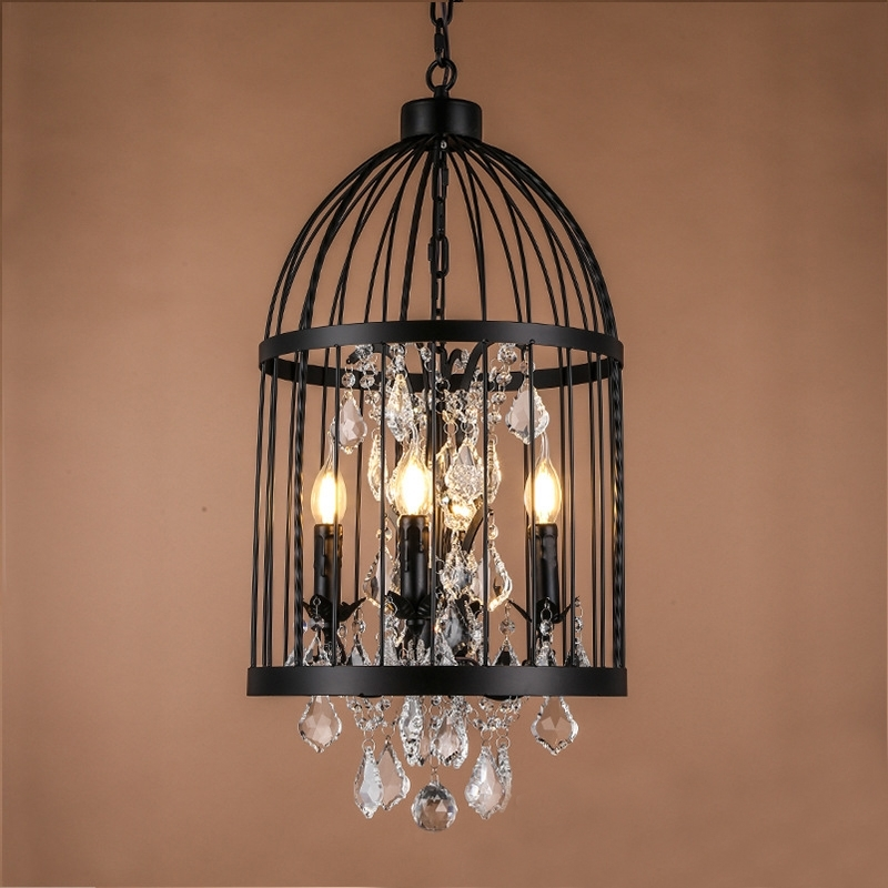 Cage Chandeliers In Well Liked Retro Vintage Black Rust Wrought Iron Cage Chandeliers E14 Big (View 2 of 10)