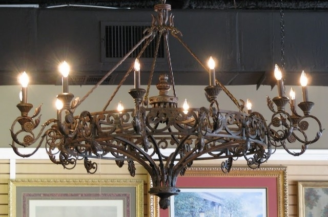 Cast Iron Antique Chandelier Inside Most Current Traditional Round Cast Iron Antique Chandelier Wrought In (View 3 of 10)