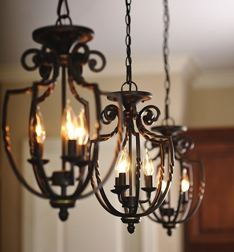 Cast Iron Chandelier Within Recent Three Wrought Iron Hanging Pendant Light Fixtures (View 5 of 10)