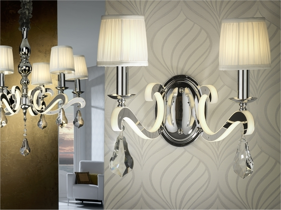 Ceiling And Matching Wall Lights Designs In Chandelier Decor Inside Latest Bathroom Lighting With Matching Chandeliers (View 2 of 10)