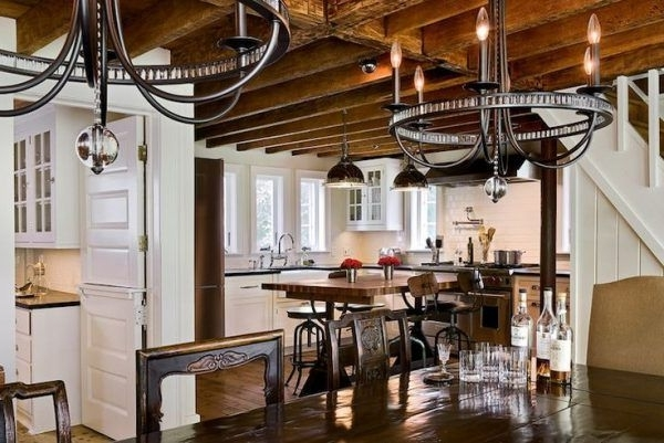 Ceiling Lights Over Kitchen Table Using Modern Wrought Iron With Regard To Most Popular Modern Wrought Iron Chandeliers (View 6 of 10)