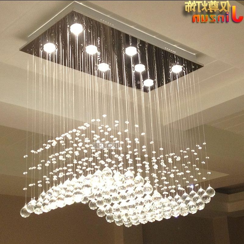 Chandelier Lights For Living Room With Favorite Rectangular Crystal Lamp Living Room Lights Restaurant Lights Wavy S (View 4 of 10)