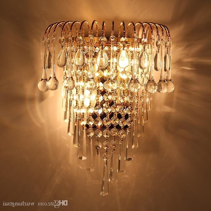 Chandelier Wall Lights Regarding Most Up To Date 2018 Classic Crystal Chandelier Wall Light Gold Crystalline Wall (View 2 of 10)