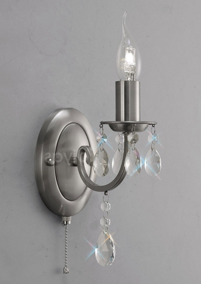 Chandelier Wall Lights Regarding Trendy Kyra Contemporary Crystal Chandelier Single Wall Light – Mirror Mania (View 5 of 10)