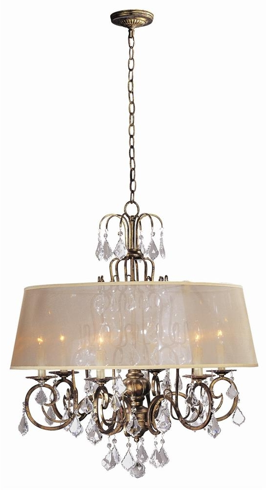 Chandelier With Shades And Crystals Intended For Preferred Buy Belle Marie 6 Light Crystal Chandelier W Shade In Antique Gold (View 3 of 10)