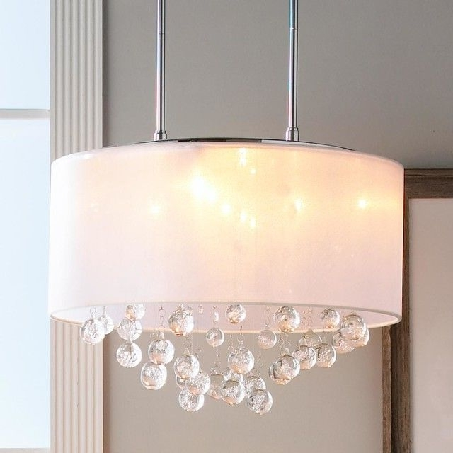 Chandelier With Shades And Crystals Within Favorite Crystal Ceiling Light Shades (View 4 of 10)