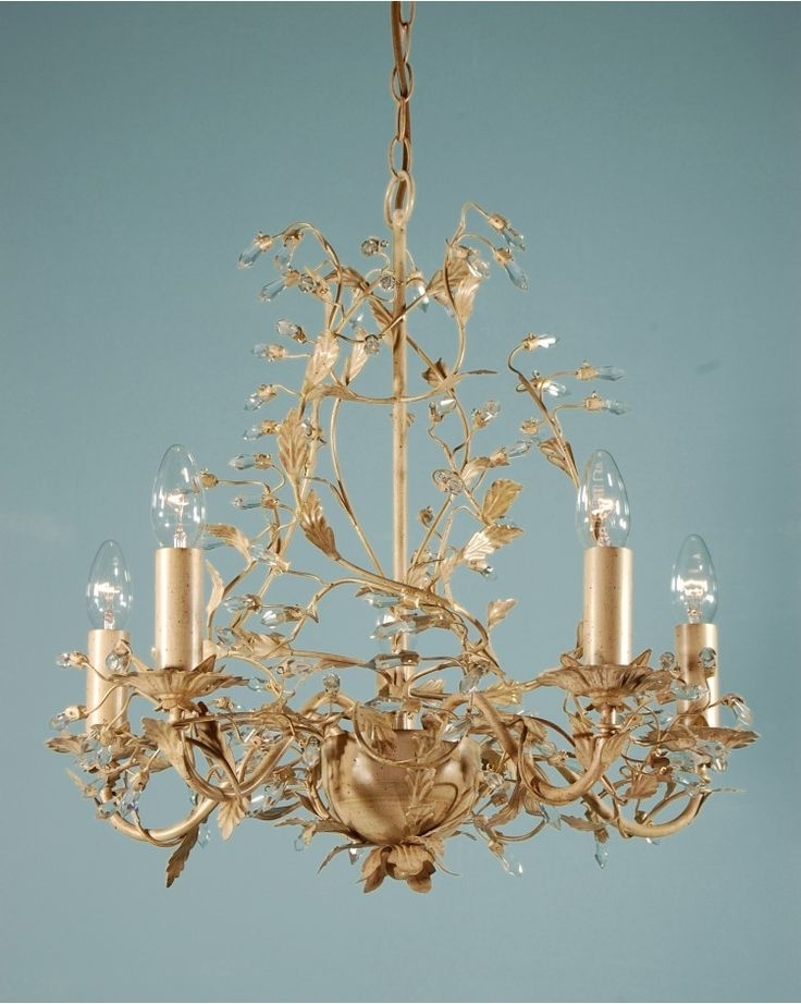 Chandeliers, Adele Five Branch Traditional Antique Cream Gold Leaf Within Most Up To Date Cream Gold Chandelier (View 5 of 10)