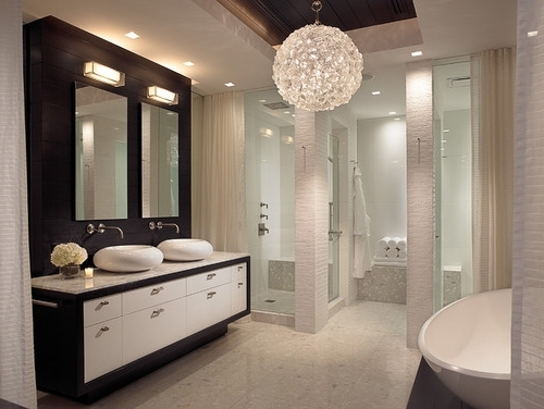 Chandeliers For Bathrooms For Well Known Interesting Bathroom Chandeliers Crystal Bathroom Chandeliers Bring (View 4 of 10)