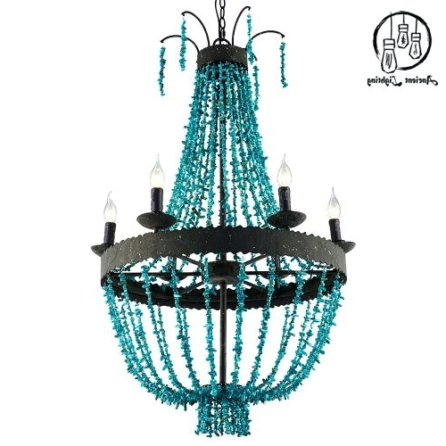Chandeliers ~ Turquoise Beaded Chandelier Light Fixture Turquoise Within Trendy Turquoise Beads Six Light Chandeliers (Gallery 10 of 10)