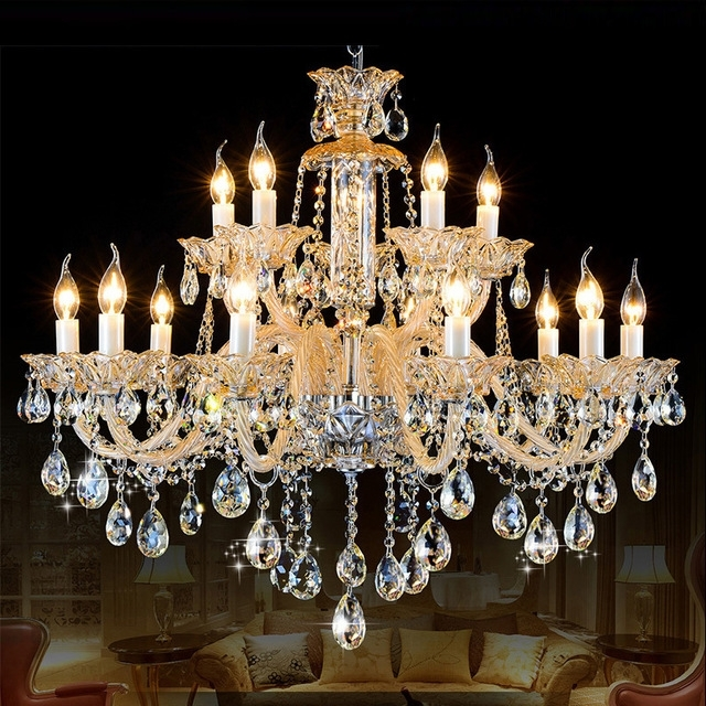 Chandeliers Vintage Pertaining To Well Known Star Hotel Milk White Crystal Chandelier 15 Arms Antique Candle (View 8 of 10)