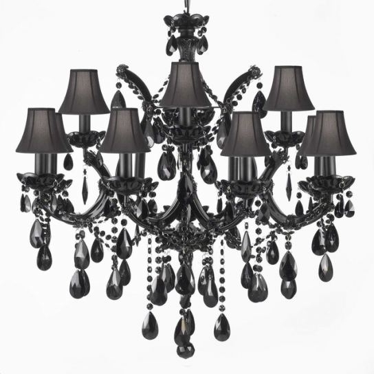 Chandeliers With Black Shades Inside Newest Jet Black Crystal Chandelier With Black Shades Traditional (View 4 of 10)