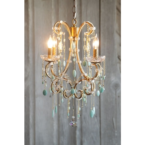 Chandi Lighting Hannah Antique Gold Four Light Mini Chandelier Throughout 2017 Turquoise Mini Chandeliers (View 3 of 10)