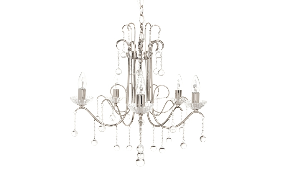 Charlotte 5 Arm Chrome Chandelier (View 8 of 10)
