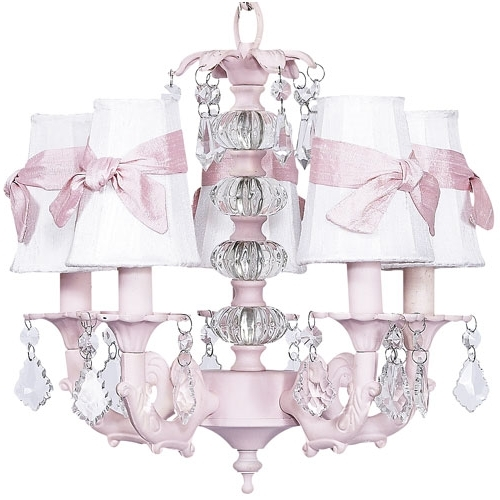 Cheap Chandeliers For Baby Girl Room Within Fashionable Pretty Pink Chandelier For Baby Girl Nursery From Poshtots (View 6 of 10)