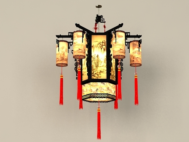 Chinese Antique Chandelier Light Fixtures 3D Model 3Ds Max Files Inside Latest Chinese Chandelier (View 1 of 10)