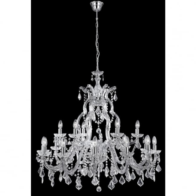 Chrome And Crystal Chandeliers With Fashionable Large Marie Therese Crystal Chandelier On Chrome Frame With Long Drop (View 1 of 10)