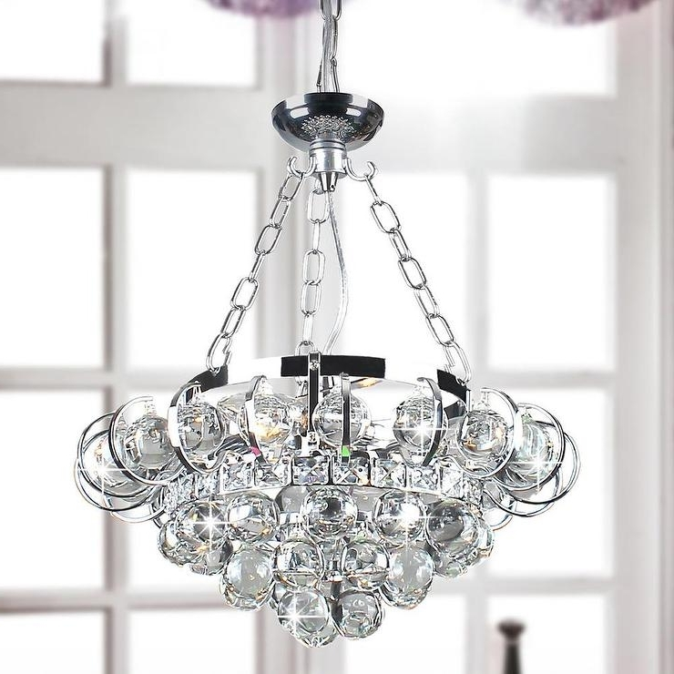 Chrome And Crystal Chandeliers Within Newest Four Light Chrome And Crystal Chandelier (View 3 of 10)