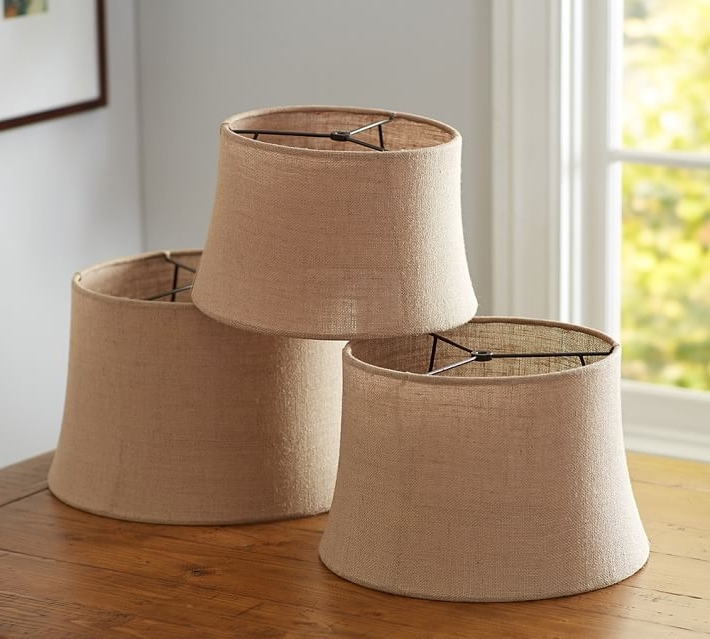 Clip On Drum Chandelier Shades Inside Trendy Clip On Drum Lamp Shade Burlap Sheer Tapered Pottery Barn 3 7  (View 5 of 10)