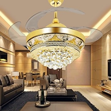 Colorled Modern Crystal Gold Ceiling Fan Light Kit For Living Room With Regard To Most Recent Chandelier Lights For Living Room (View 5 of 10)