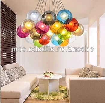 Coloured Glass Chandelier Intended For Best And Newest Coloured Hanging Glass Balls Hand Blown Glass Chandelier – Buy Hand (View 3 of 10)