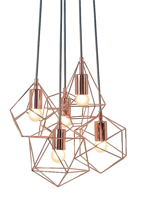 Copper Chandelier Regarding Latest My Furniture/ Geometric Chandelier /rose Gold Chandelier /copper (View 5 of 10)