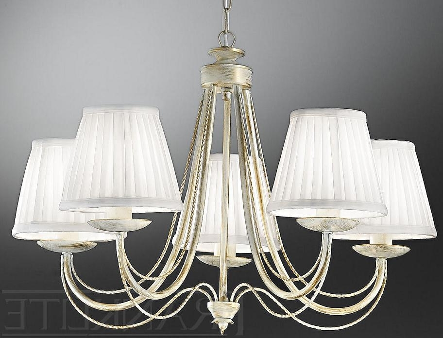 Cream Chandelier Pertaining To Popular Franklite Philly Cream Gold 5 Light Chandelier With Shades (View 3 of 10)