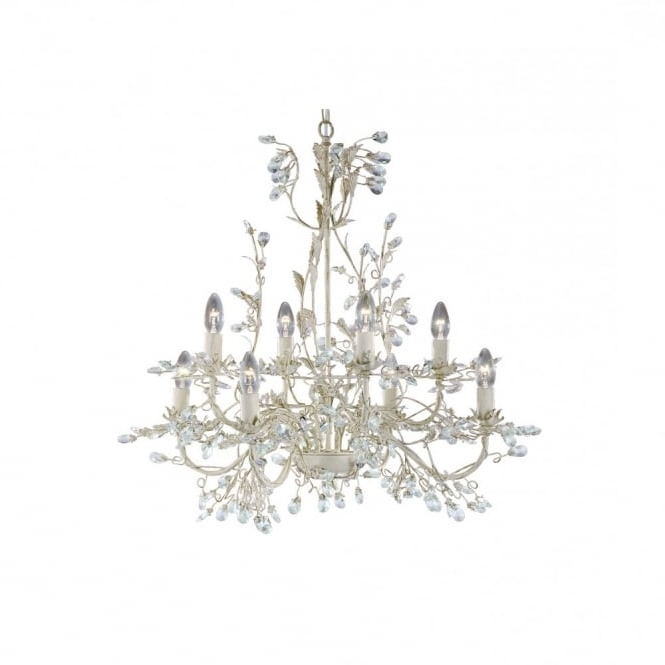 Cream Gold Chandelier Pertaining To Trendy Almandite 8 Light Cream & Gold Chandelier Light With Crystal Droplets (View 8 of 10)